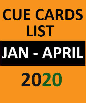IELTS Cue Card list  January 2020 to April 2020