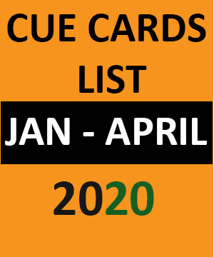 IELTS cue card list jan to april 2020