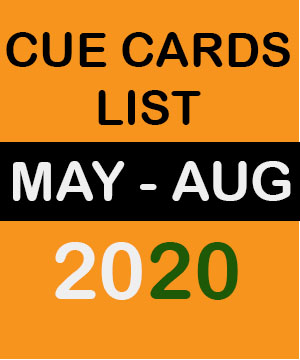 Cue Cards May to August 2020 | New Cue Cards May to August 2020 | May To August Cue Cards 2020